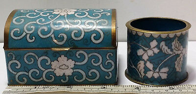 Antique Chinese Enamel Floral Cloisonne Opium / Tobacco Lidded Box & Container.