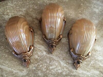3 Art Deco Antique Glass Slip Shades Wall Sconces by Markel
