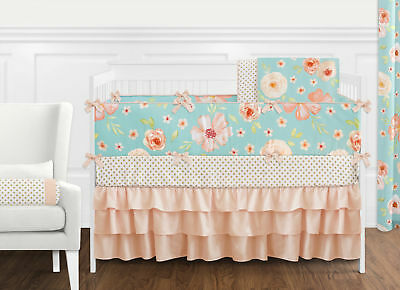 Sweet Jojo Turquoise Peach Chic Watercolor Floral Baby Girl Crib Bedding Set