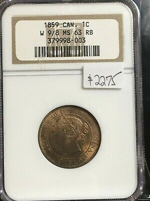 **1859 Wide 9/8** NGC Graded Canadian, Large One Cent, **MS-63**