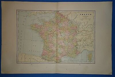Vintage 1892 FRANCE MAP ~ Old Antique Original Atlas Map 122018
