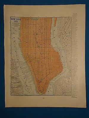 Vintage 1892 NEW YORK CITY, NEW YORK MAP Old Antique Original Atlas Map 122018