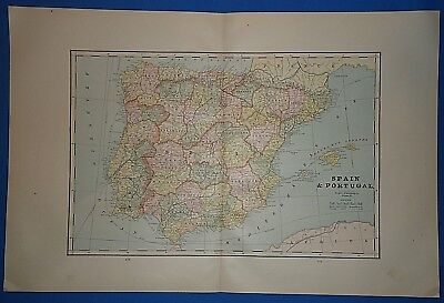Vintage 1892 SPAIN - PORTUGAL MAP ~ Old Antique Original Atlas Map 122018