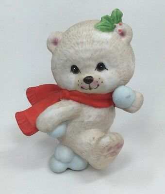 Vintage Enesco 1985 Christmas Ceramic Bear Snowball Fight Winter Snowballs Holly