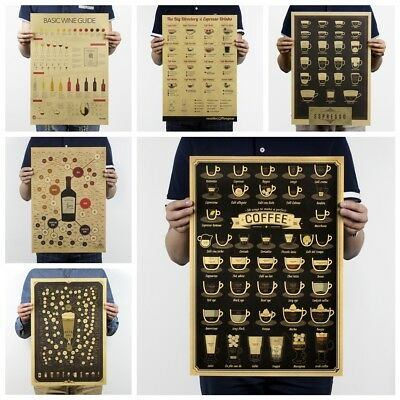 Coffee Kitchen Adornment Kraft Paper Wall Sticker Retro Poster Vintage Picture