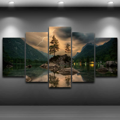 Mountain Lake Lightning 5 panel canvas Wall Art Home Decor Poster Picture Print