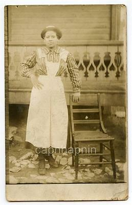 1911 Young Pretty African American Black Woman ID Apron Hat Real Photo Tennessee