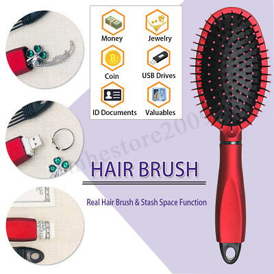 Real Hair Brush Stash Safe Diversion Secret Security Hidden Hollow Container Red
