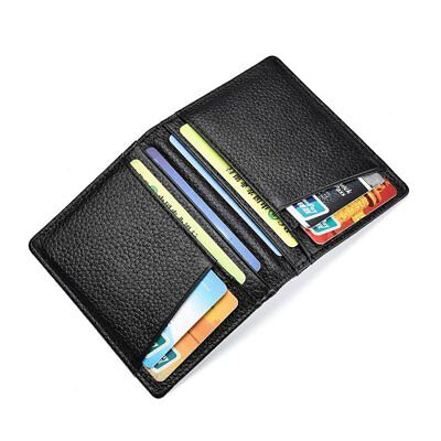 Men's Slim Thin Leather Credit Card Holder Money Clip ID Case Purse Wallet IU