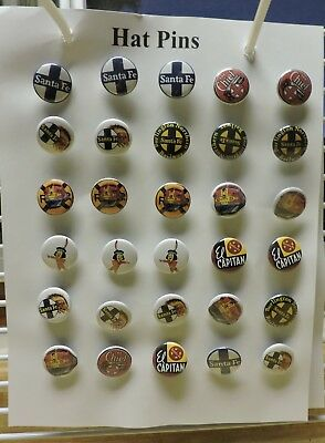 """30 Hat Lapel Pins Santa Fe Railroad Made in the USA Assorted Styles 1"""" wide"""