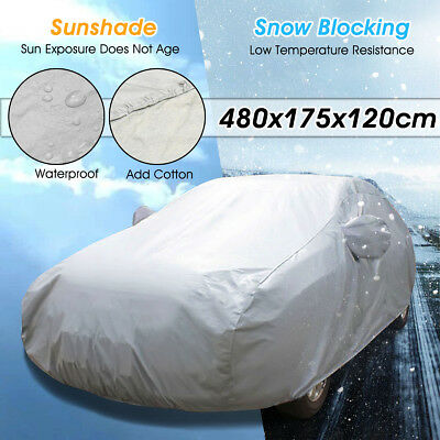Universal Full Car Cover Cotton Waterproof Breathable Dust Rain UV Snow OutDoor