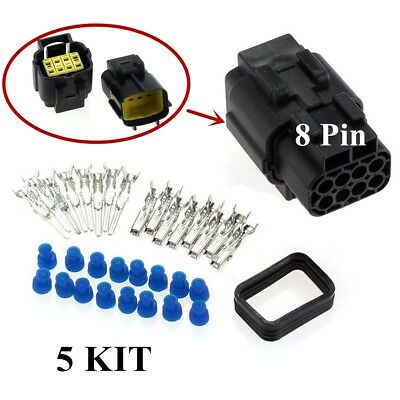 5Kit 8Pin Car Sealed Waterproof Cold pressing Electrical Wire Connector Plug
