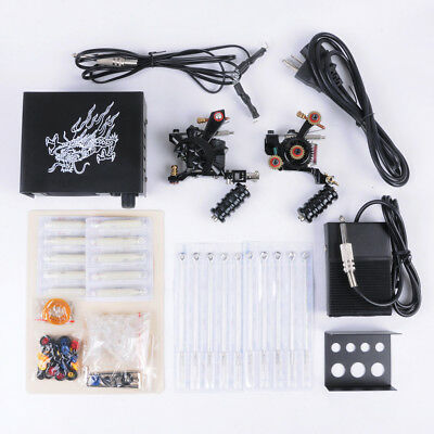 WO Complete Professional Tattoo Tool Kit Pro Double Tattoo Machine For Beginners