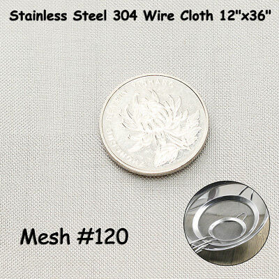 12'' x 36'' 120 Mesh 304 Stainless Steel Wire Cloth Screen Filtration Filter