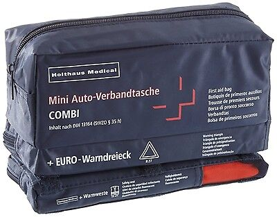 Holthaus Mini 3 in 1 Aid Kit + Warning Triangle + High Visibility Vest Din 13164