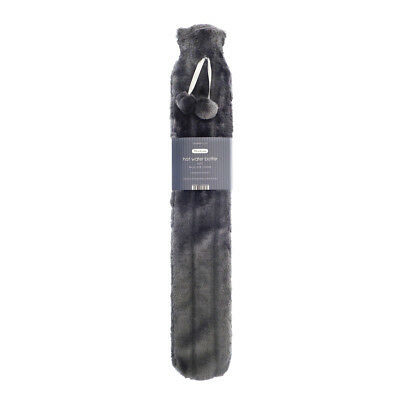 Country Club Faux Fur Long Hot Water Bottle, Dark Grey Heat Therapy Extra Large