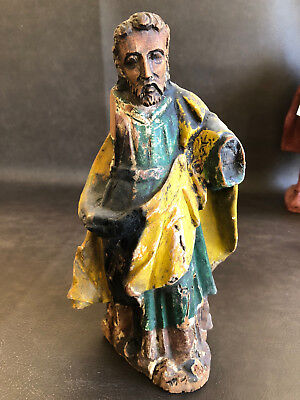 RARE Antique Santos Statue Jesus Spanish Colonial Carved Wood Painted Miracle