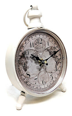 Antique Design White Metal World Globe Atlas Dial Mantle Clock Shabby Chic Table