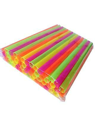 """50 Assorted Neon Smoothie Straws! - SUPER-WIDE! 8"""" Long. Poly Bagged. Flat Safe"""