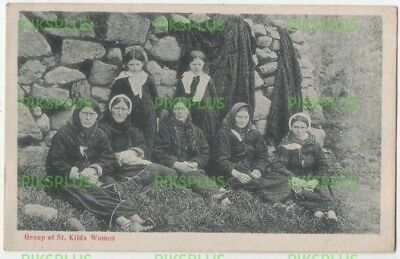 Scottish Island Postcard Group Of St Kilda Women Scotland G.w.w Vintage 1905-10