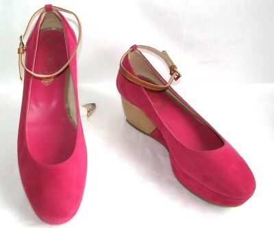 TOD'S Shoes flange wedge plateau leather velvet pink candy 39 MINT