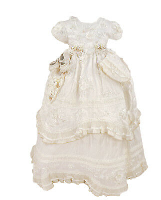 White Silk Baby Girls Vintage Gown Dress Christening Baptism Booties Bonnet New