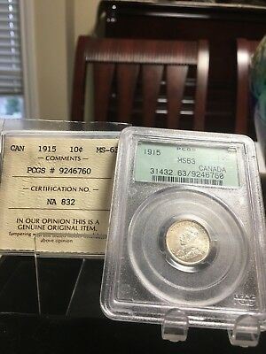 **1915**, PCGS / ICCS Graded Canadian,  10 Cent, **MS-63**
