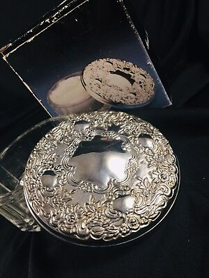 Vintage beveled Clear Glass Powder Jar Silver Plated mirrored Lid floral design