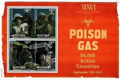 WWI 60,000 British Casualties of POISON GAS Stamp Sheet (Nurses/Army Medics)