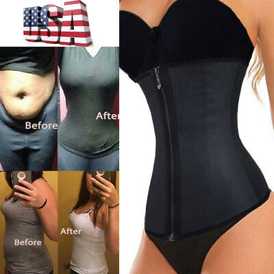 Fajas Colombianas Zip Latex Waist Trainer Weight Loss Cincher Slim Corset Shaper