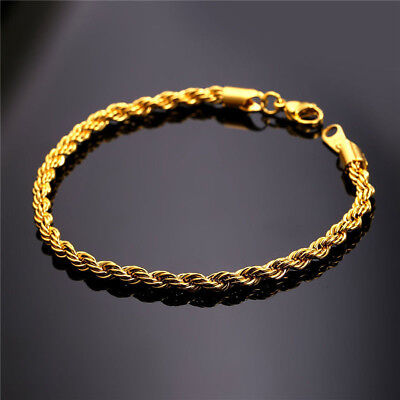 """Hip Hop 18K Gold Plated Bracelet Rope Chain 4MM Men's Jewelry 7.6"""""""