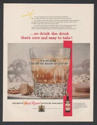 1954 Gilbeys Spey Royal Scotch Whiskey highball Drink photo print ad