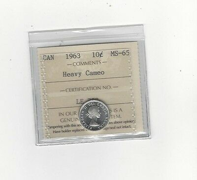 **1963**, ICCS Graded Canadian,  10  Cent, **MS-65 Heavy Cameo**