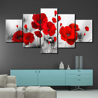Red Poppy Flower Poppies 5 panel canvas Wall Art Home Decor Poster Picture
