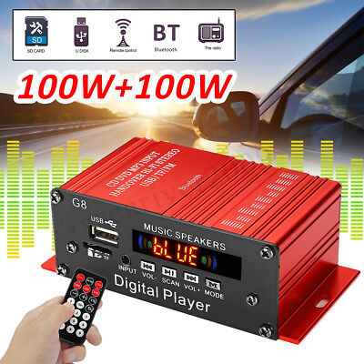 200W HIFI Digital Bluetooth Stereo Audio Power Amplifier AMP AUX FM Mic MP3