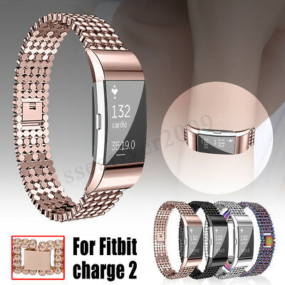 For Fitbit Charge 2 Watch Strap Wrist Band Stainless Steel Crystal Classic