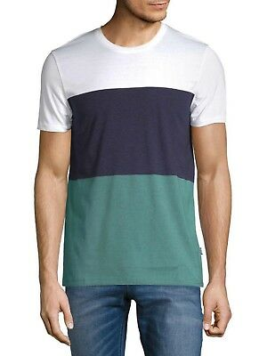 9ccb50e2d Boss Hugo Boss Black Men's White/Navy/Green Colorblock Tessler Slim Fit T-