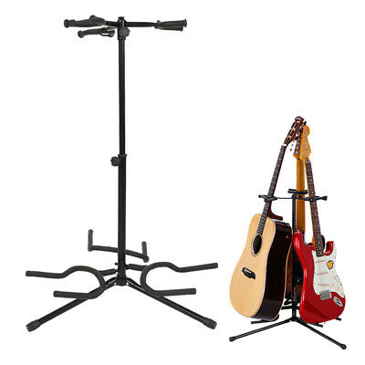 Professional Triple Acoustic Electric Guitar Bass Tripod Stand Holder Black