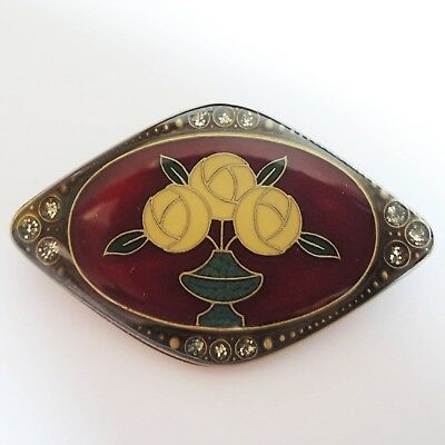 Spain Beautiful Unique Vintage Antique Bronze Crystal New Roses New Gift Brooch