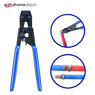 "PEX Cinch Crimp Crimper Crimping Tool for Hose Clamps Sizes from 3/8"" to 1"" Blue"