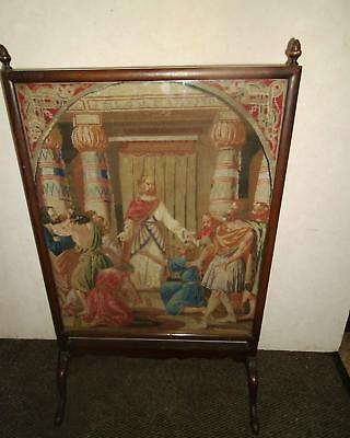 Early C19Th Mahogany Firescreen With Religeous Berlin Woolwork Tapestry Panel