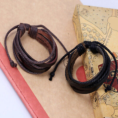 Mens Boys Handmade Leather Braided Surfer Wristband Bracelet Bangle Wrap Gifts