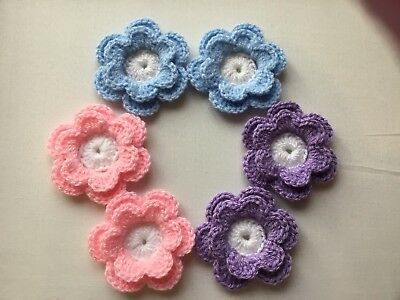 6xNew Lovely Crochet Flowers Applique Embellishment-Shades Of Pastel Set1