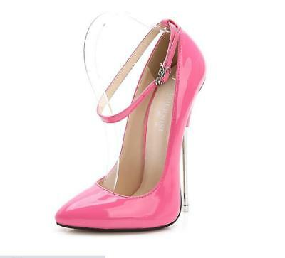 Women Super High Metal Heels Pointed Toe CLub Patent Leather Sexy Shoe US 4.5-11