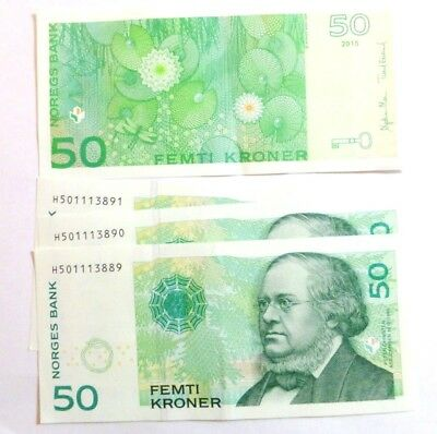 NORWAY 50 Kronor Banknote 2015 Series 7 Uncirculated mint condition