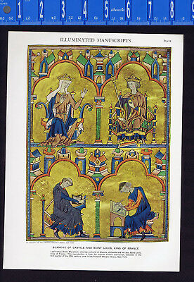 Blanche of Castile & Louis, King of France-Illuminated Manuscripts- 1950s Print