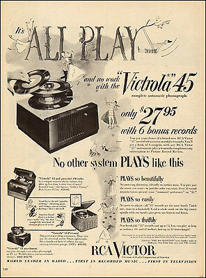 1953 vintage AD VICTROLA 45 Portable automatic Phonograph 6 bonus records 080117