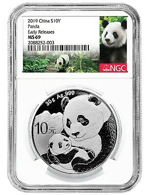 2019 China 10 Yuan Silver Panda NGC MS69 Early Releases - Panda Label