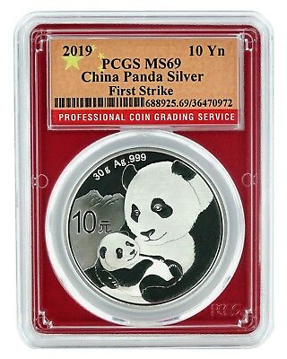 2019 China 10 Yuan Silver Panda PCGS MS69 - First Strike Red Frame Flag Label