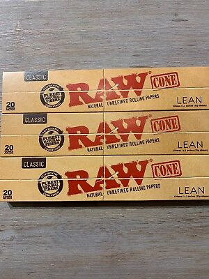 NEXT DAY SHIPPING-3 Packs Authentic RAW Classic Lean Cones (20 cones per pack)